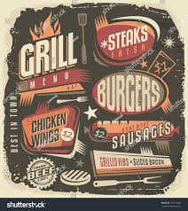 retro grill menu design template vintage stock vector 303714359