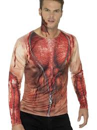 mens ripped skin t shirt halloween costume