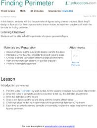 finding perimeter lesson plan education com