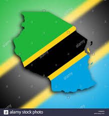 Map Of Tanzania Map Of Tanzania Filled With The National Flag Stock Photo Royalty