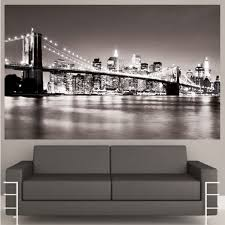 wall art designs captivating brooklyn skyline wall art nyc decal mural wall art nyc black white color good looking couch seating armrests wonderful comfortable living