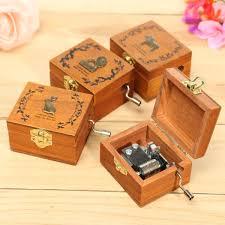 mini wooden novelty hand crank diy slide drawer music box birthday