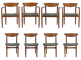 Teak Dining Chair Mid Century Dining Chairs Set Of 8 In Teak By Kurt Ostervig For