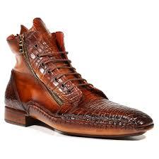 parkman men u0027s shoes genuine crocodile calfskin zipper brown