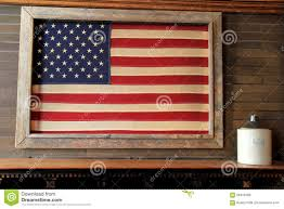 American Flag Wall Hanging Framed Flag On Wood Background Stock Image Image Of