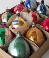 8 vintage painted glass tree ornaments poland