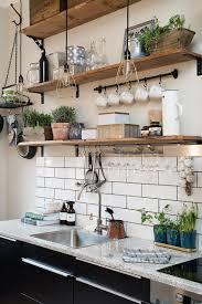 modern kitchen open shelves kitchen modern kitchen features rustic wooden open shelves also