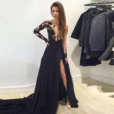 long sleeves black lace prom dresses with train chiffon