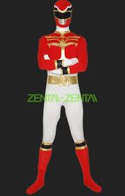 power ranger megaforce red white spandex zentai