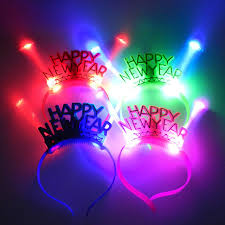 party supply wholesale christmas happy new year fiber headdress led flash hoop