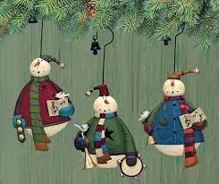 snowmen carol folk ornaments set of three folk