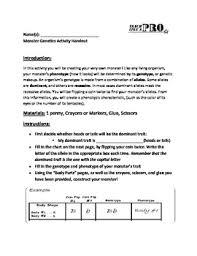 monster genetics activity worksheet biology 7th 8th science