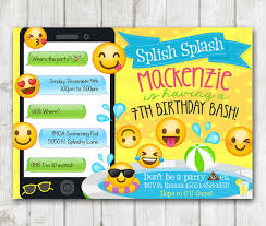 printable emoji pool party party invitation swim by happybarn