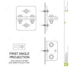 first angle orthographic projection stock vector image 65113043