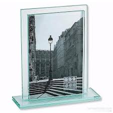 5 X 7 Photo Albums Deco Solid Glass Sleeve Frame W Base U0027floats U0027 Your 5x7 Photo