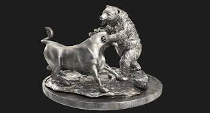 bear fighting statue 3d model