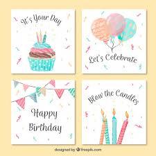 vintage watercolor birthday greeting card pack vector free download