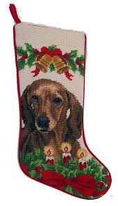 christmas needlepoint smooth coat dachshund dog needlepoint christmas