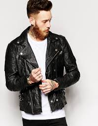 mens moto jacket image 1 of asos asymmetrical leather biker jacket in black d73