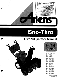 ariens snow blower snow blower 085 st1236 pdf user u0027s manual free