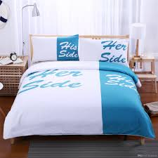 Couples Bed Set Light Blue And White Bedding Set His Side Side Home