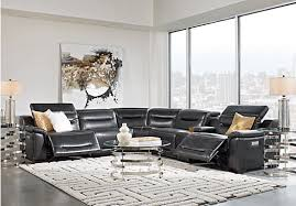 sofia vergara gallia black leather 7 pc power plus reclining