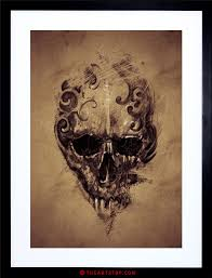 painting drawing creepy skull grunge framed print