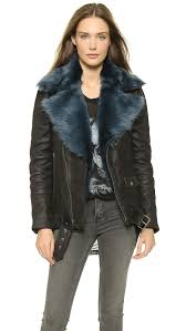 blk dnm leather jacket 8 with detachable fur collar emerald blue