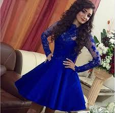 royal blue short lace homecoming dresses appliques long sleeves