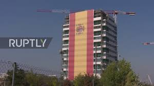 The Flag In Spanish Spain Gigantic Spanish Flag Covers Entire Building In Madrid