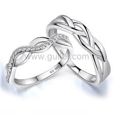 2 engagement rings engraved stylish sterling silver engagement rings set for 2