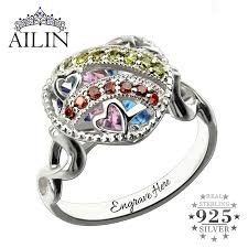 rings with birthstones and names customized heart cage ring with birthstone sterling silver