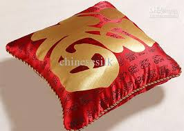 pattern black silk pack red ethnic pillow case chinese style silk fabric fu word pattern
