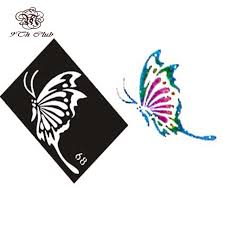 10 pieces air brush glitter tattoo stencil cat angel heart flower
