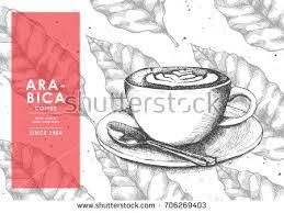 vintage latte art coffee coffee bean stock vector 709129255