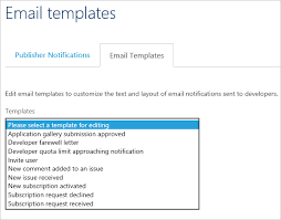 configure notifications and email templates in azure api