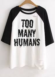 plus size halloween too many humans hole baseball t shirt chicgrace