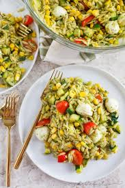 end of summer orzo salad table for two