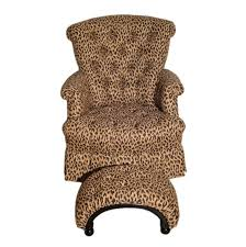 Leopard Print Swivel Chair Petite Rocker Armchair And Ottoman Upholstered In A Leopard Print