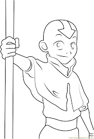 aang from avatar the last airbender coloring page with the