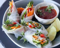 easy vegetarian canapes canapé ideas minty vegetable and rice paper rolls