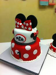 Red Minnie Mouse Cake Decorations Minnie Mouse First Birthday Cake With Little Smash Tortas