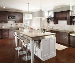 dark cherry cabinets with large white kitchen island homecrest
