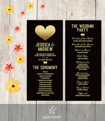 gold wedding programs wedding program printable faux metallic gold foil gold heart