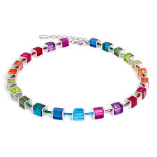 multi colored necklace images Signature cube necklace coeur de lion jewelry multicolored silver jpg