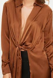 brown blouse brown satin twist front blouse missguided