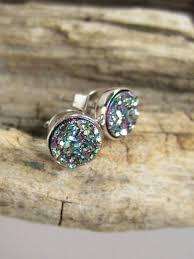 rhodium earrings sensitive ears tiny druzy earrings peacock drusy quartz studs by julianneblumlo