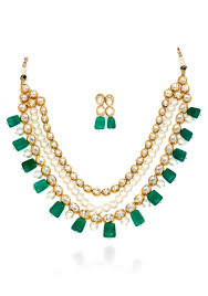 green stones necklace images Buy kundan and pearl necklace set with green red stones jewellery jpg