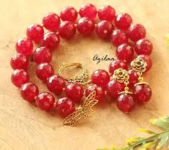 fashion necklace sets images Reddish maroon gemstone artisan handmade necklace set fashion jpg
