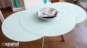 Expanding Table by Butterfly Round Glass Extending Table Demonstration Youtube